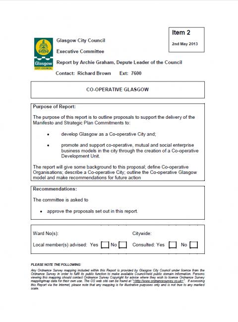 Glasgow: 'Co-operative Glasgow' policy framework (May 2013)