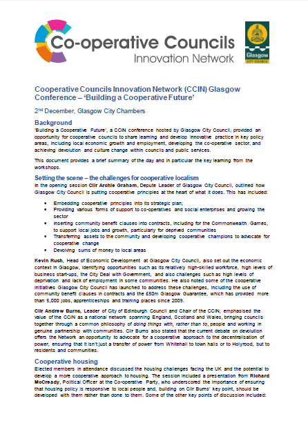 CCIN Glasgow conference briefing: 'Building a Cooperative Future'