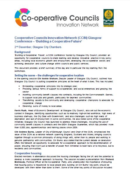 CCIN Glasgow conference - Building a Cooperative Future