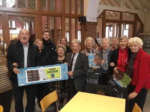 Leader of Hull City Council & Ward Members sharing Fairtrade message in a community centre